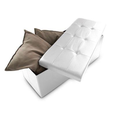 Sitzbank mit Stauraum Kunstleder weiß
