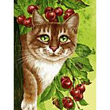 Живопись на картоне 30х40см Кот на вишнёвом дереве Белоснежка