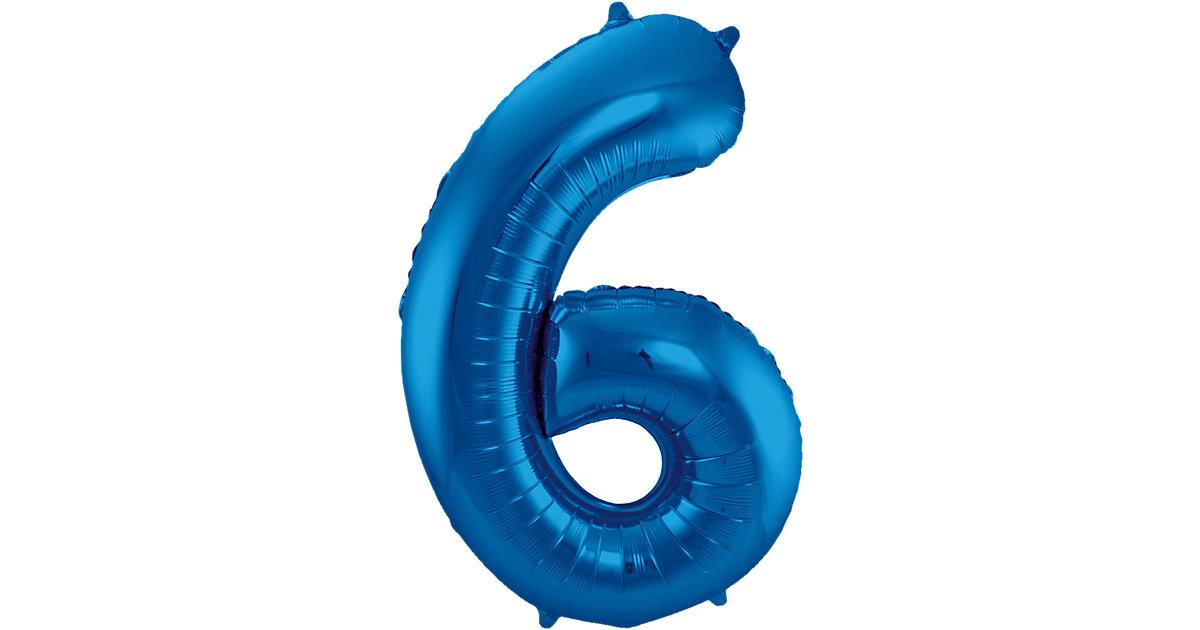 Folienballon Zahl 6, blau