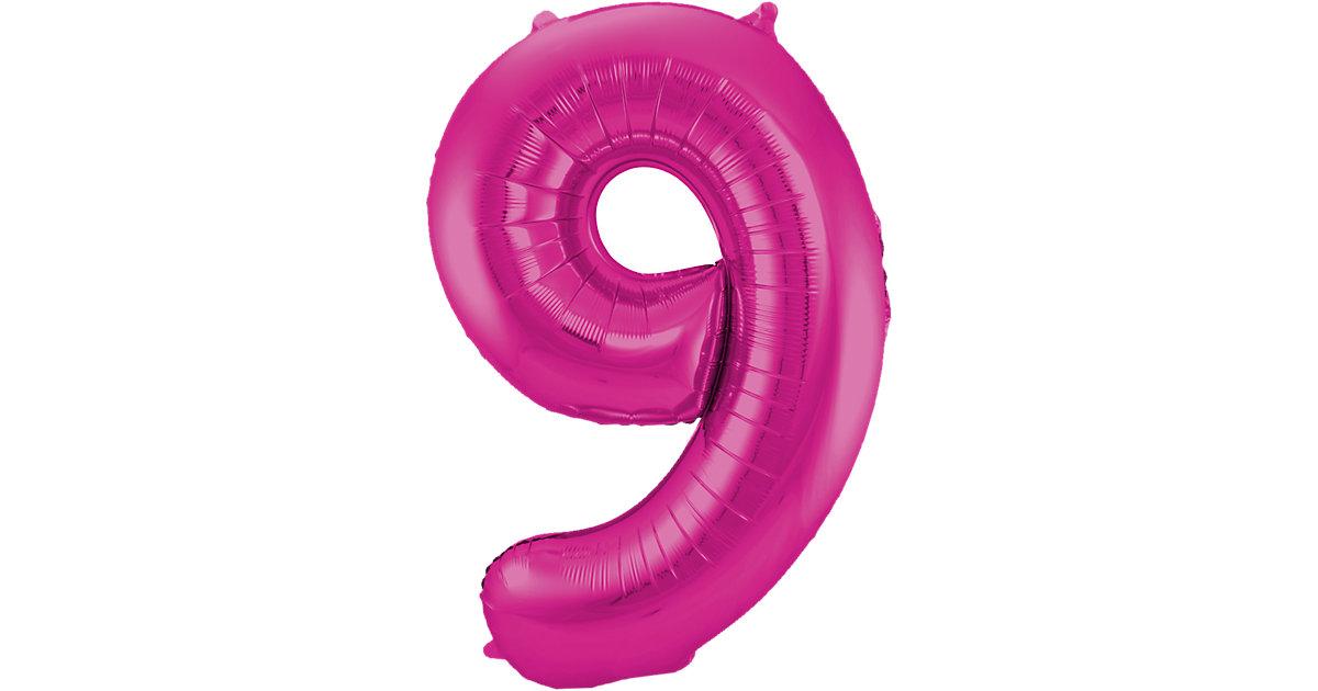 Folienballon Zahl 9, pink