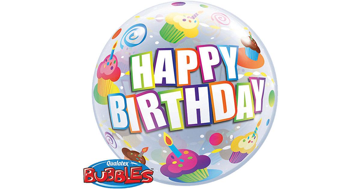 Luftballon Bubble Balloon Cupcake Happy Birthday mehrfarbig