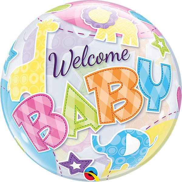 Luftballon Bubble Balloon Welcome Baby, Qualatex