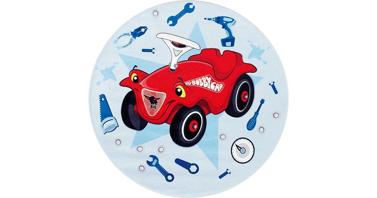 Kinderteppich Bobby Car, rund, blau, 100 cm