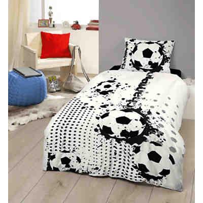 kinderbettw sche fu ball linon 135 x 200 cm herding. Black Bedroom Furniture Sets. Home Design Ideas