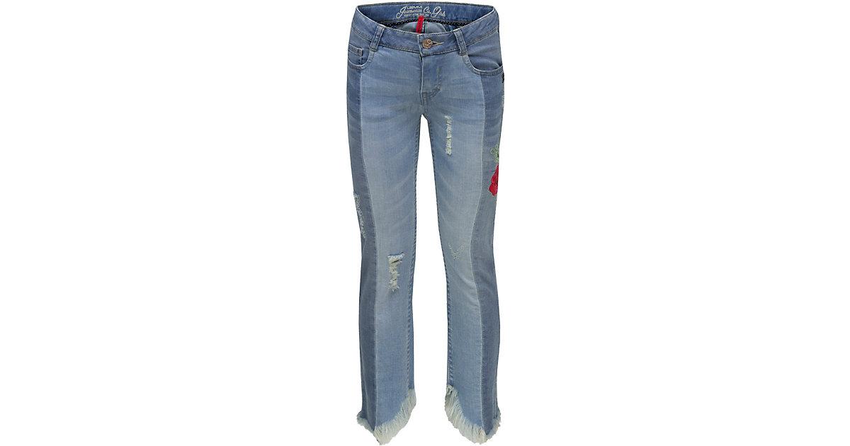 LEMMI · Jeans ROSI Skinny Fit knöchellang mit Fransensaum und Stickerei , Bundweite SLIM Gr. 134 Mädchen Kinder