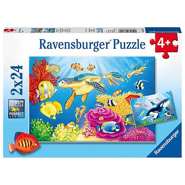 Puzzle 2 x 24 Teile Kunterbunte Unterwasserwelt, Ravensburger