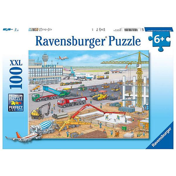 Puzzle 100 Teile XXL Baustelle am Flughafen, Ravensburger