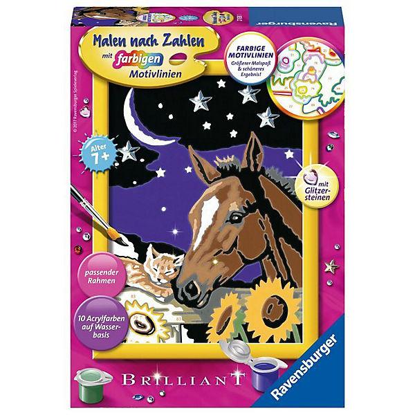 Malen Nach Zahlen 13x18 Cm Mit Farbigen Motivlinien Glitzersteine Pferd Katze Tiefe Freundschaft Ravensburger