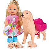 """Игровой набор с мини-куклой Simba """"Evi Love"""" Еви с собачкой и щенками, 12 см"""