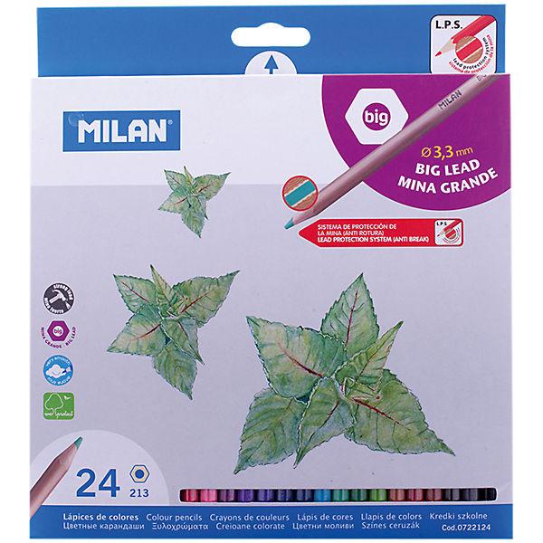 """Карандаши """"213"""" 24 цвета Milan, утолщенный грифель"""
