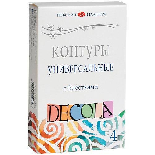 Контуры акриловые 4 цвета 18мл Decola, с блестками от Невская палитра