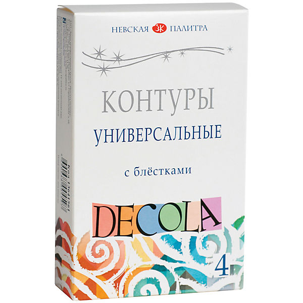 Контуры акриловые 4 цвета 18мл Decola, с блестками