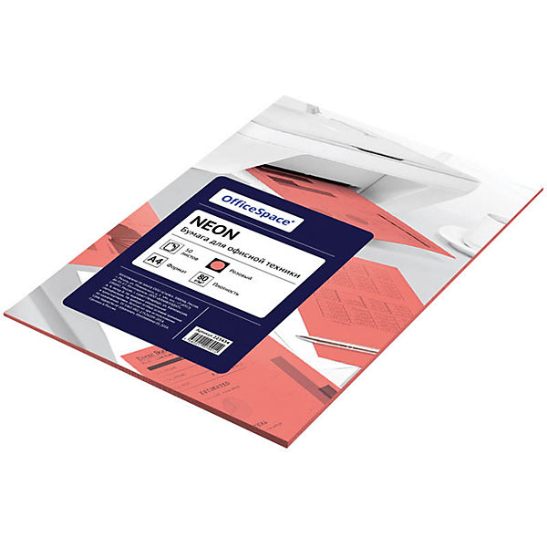 Бумага цветная neon А4 50 листов OfficeSpace, розовый