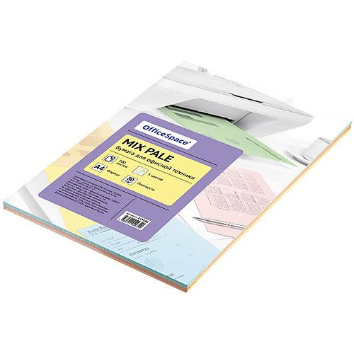 Бумага цветная pale mix А4 100 листов OfficeSpace, 5 цветов от OfficeSpace