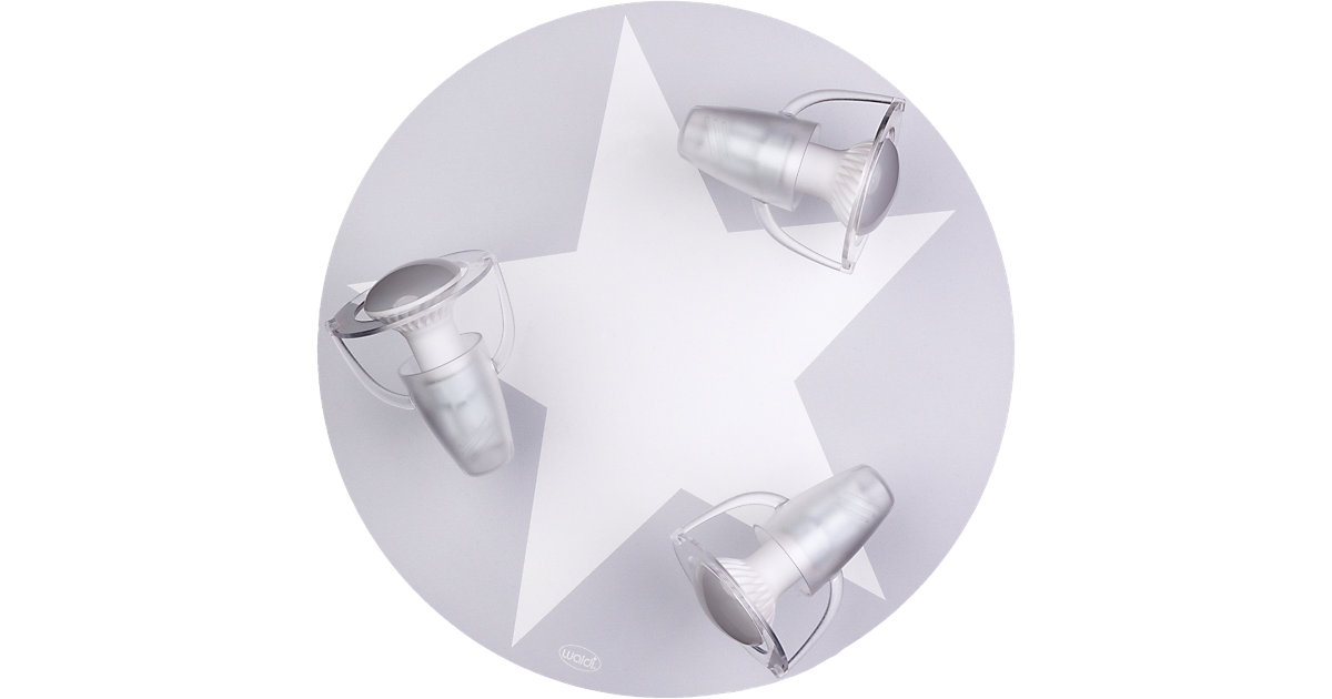 Waldi · Deckenleuchte grau mit Stern weiß 3-flg.