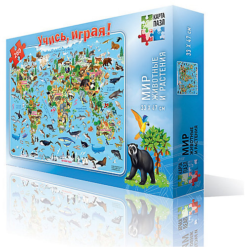 """Карта-пазл """"Мир-животные и растения"""" Издательство ГеоДом от ГеоДом"""