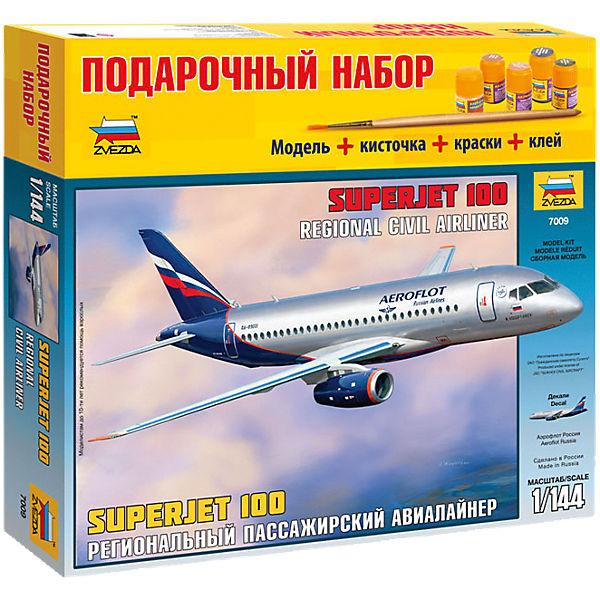 """Сборная модель Звезда """"Пассажирский авиалайнер Суперджет 100"""", 1:144 (подарочный набор)"""