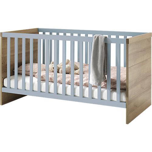 Wellemöbel Benno, Kinderbett Riviera Eiche-Nachbildung / Pacific Blau Hochglanz Gr. 70 x 140 Sale Angebote Proschim
