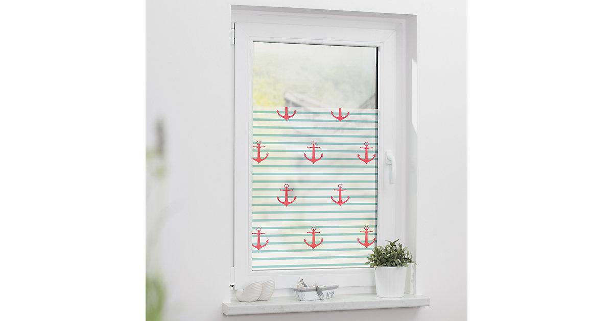 Fensterfolie selbstklebend, Sichtschutz, blickdicht, türkis/rot Gr. 100 x 100