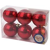 Новогоднее подвесное украшение Шар Мерцание красный из полистирола. Набор из 6 шт., 76040