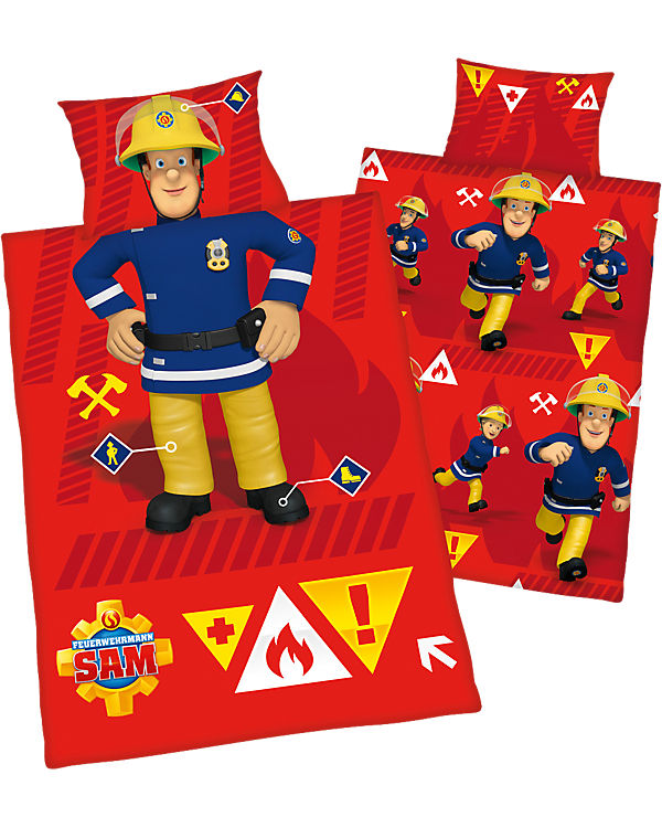 Wende Kinderbettwäsche Feuerwehrmann Sam Renforcé 100 X 135 Cm