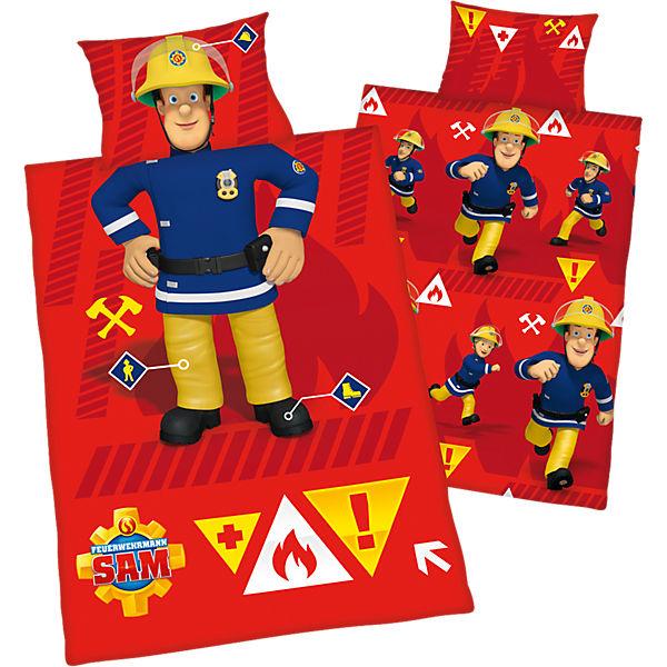 Wende- Kinderbettwäsche Feuerwehrmann Sam, Renforcé, 100 x 135 cm,  Feuerwehrmann Sam