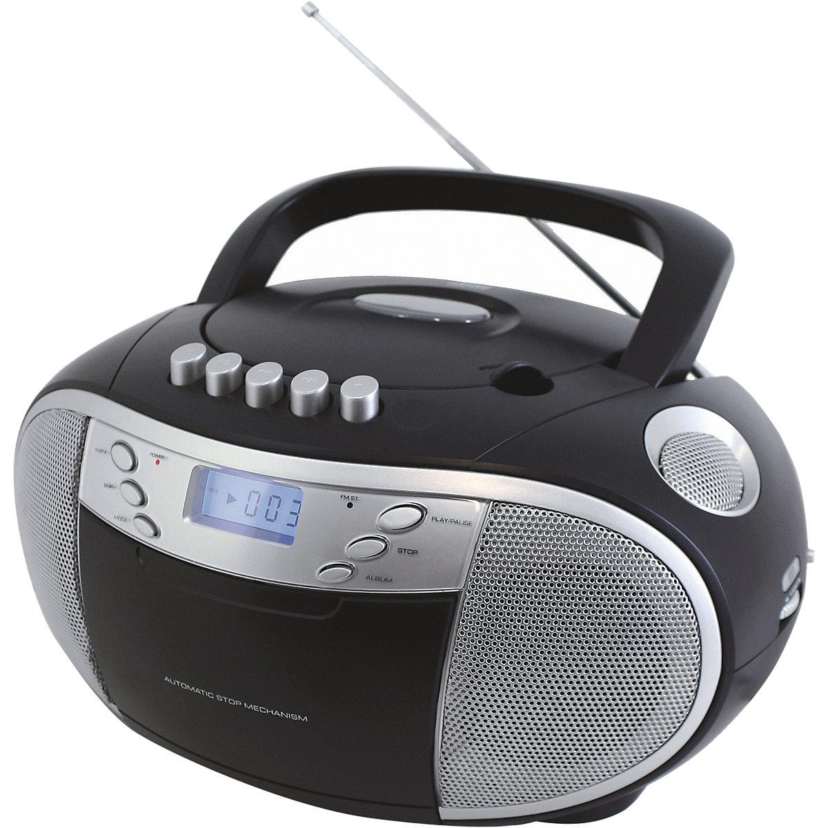cd player boombox mit radio und kassettenplayer schwarz. Black Bedroom Furniture Sets. Home Design Ideas