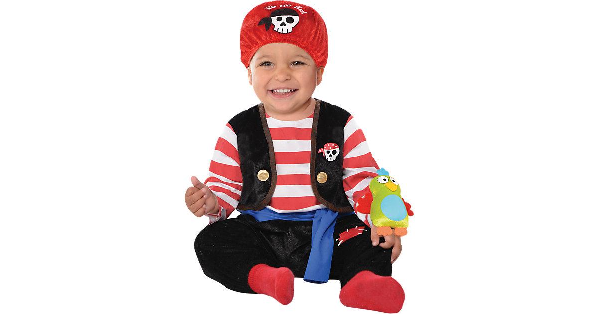 Kostüm Pirat Baby Bucaneer schwarz/rot Gr. 80/86