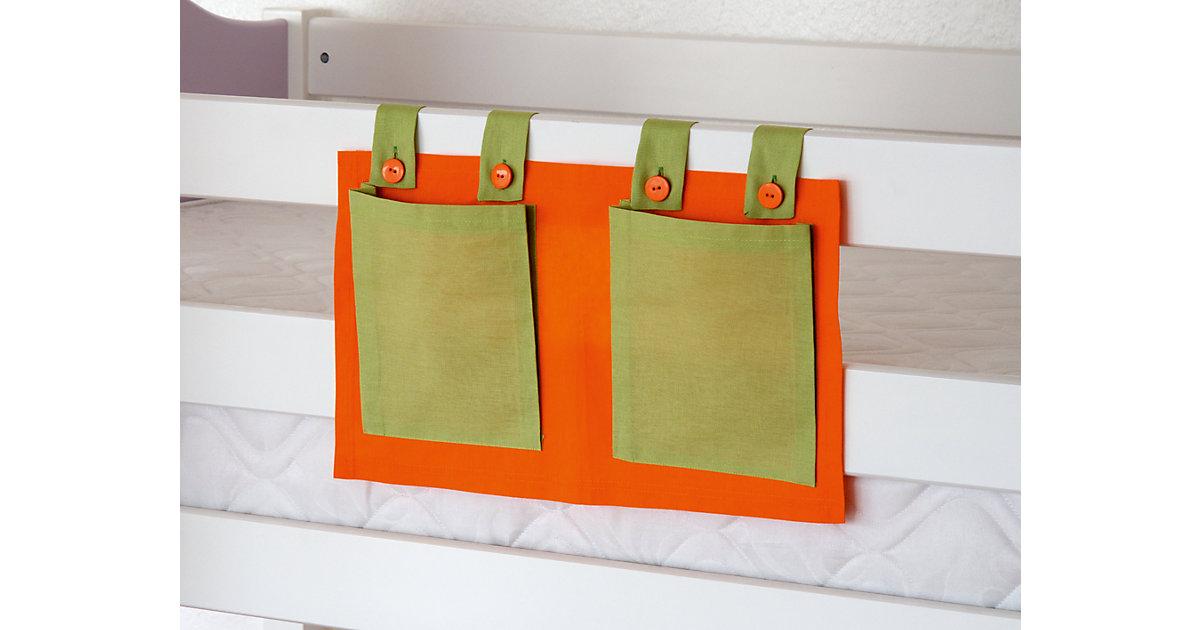 Betttasche Hoch- & Etagenbett, grün/orange  Kinder