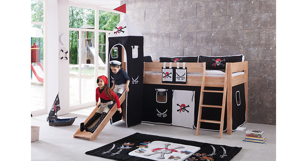 Betttasche Hoch- & Etagenbett, Pirat, schwarz/weiß  Kinder