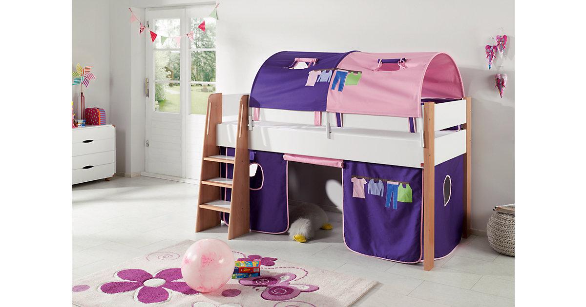 Image of 2er Tunnel Hoch-und Etagenbetten, Kleider, rosa/violett, 150 cm Kinder