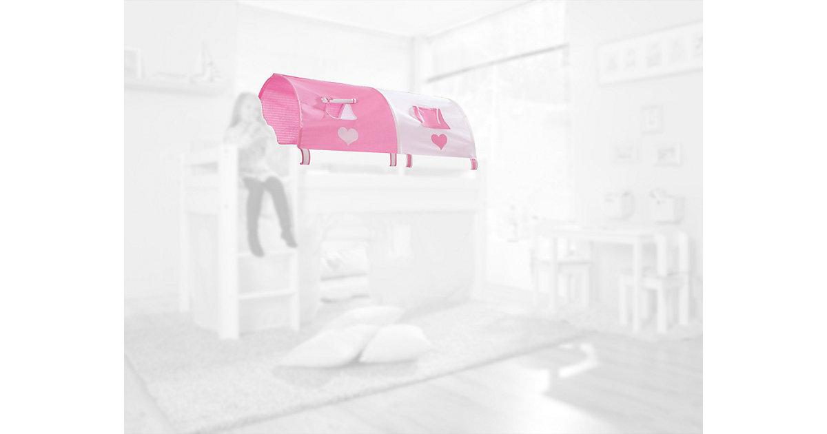 Image of 2er Tunnel Hoch-und Etagenbetten, Herz, rosa/weiß, 150 cm Kinder