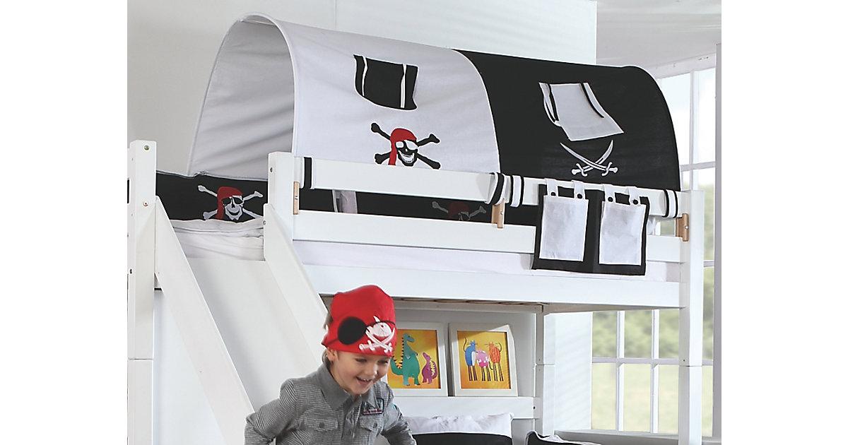 Image of 2er Tunnel Hoch-und Etagenbetten, Pirat, schwarz/weiß, 150 cm Kinder