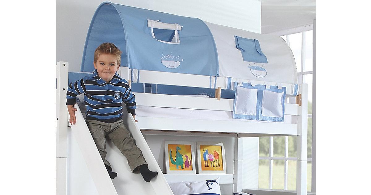 Image of 2er Tunnel Hoch-und Etagenbetten, Boy, hellblau/weiß, 150 cm Kinder