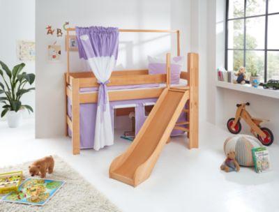Vorhang Spielvorhang Bettvorhang PRINZESSIN lila//weiß für Kinder Hochbett 90x200