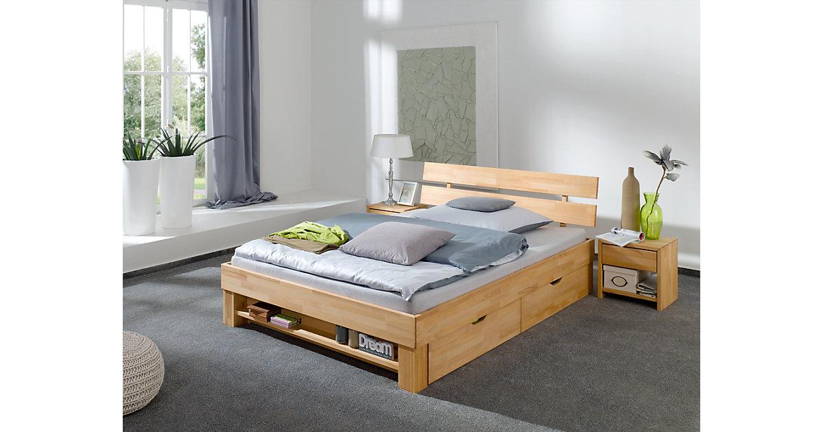Bettregal JULIA 180 cm breite Betten, Kernbuche massiv, geölt holzfarben  Kinder