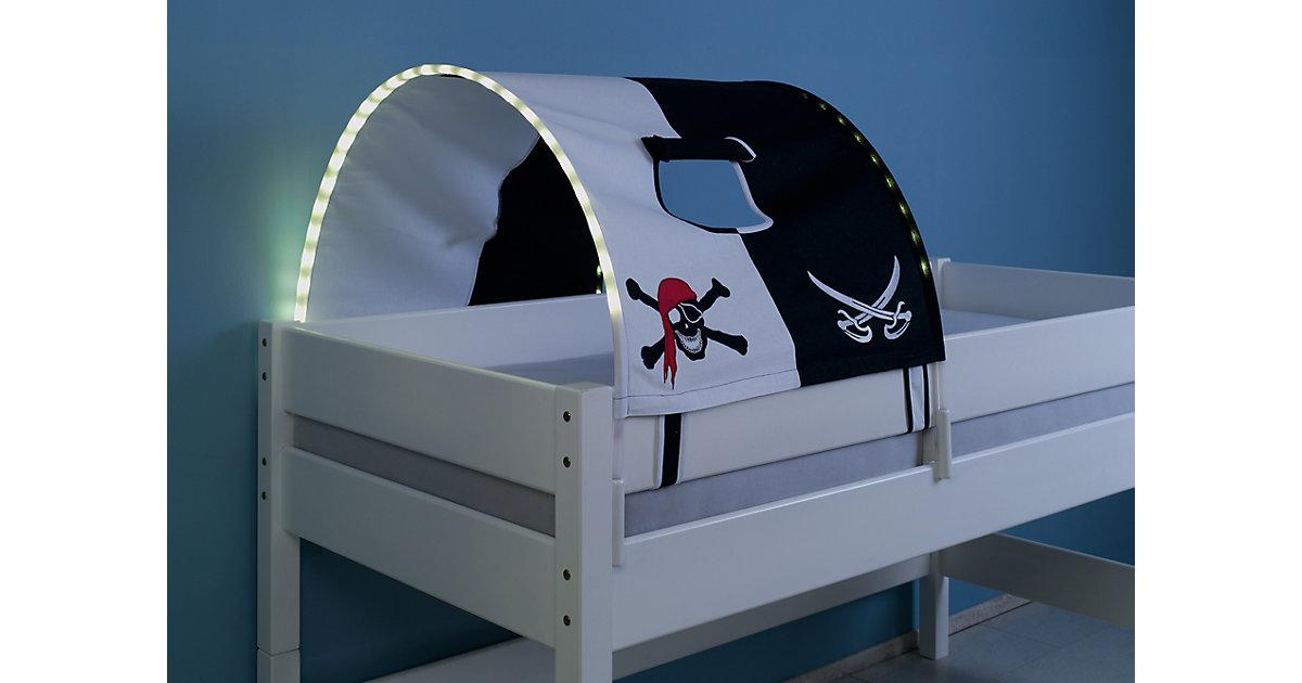 Image of Tunnel inkl. LED-Beleuchtung zu Hoch- & Etagenbetten, Pirat, schwarz/weiß, 75 cm