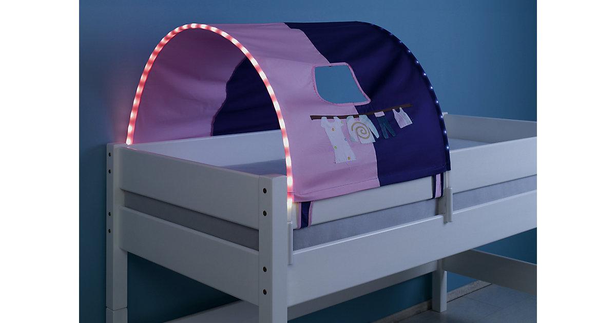 Image of Tunnel inkl. LED-Beleuchtung zu Hoch- & Etagenbetten, Kleider, rosa/violett, 75 cm