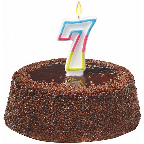 """Свеча-цифра для торта Susy Card """"7"""" 7,5 см., радужная от Susy Card"""