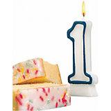 "Свеча-цифра для торта Susy Card ""1"" 8,5 см, синяя"