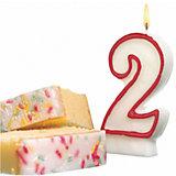 """Свеча-цифра для торта Susy Card """"2"""" 8,5 см, красная"""