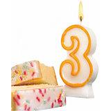 "Свеча-цифра для торта Susy Card ""3"" 8,5 см, жёлтая"