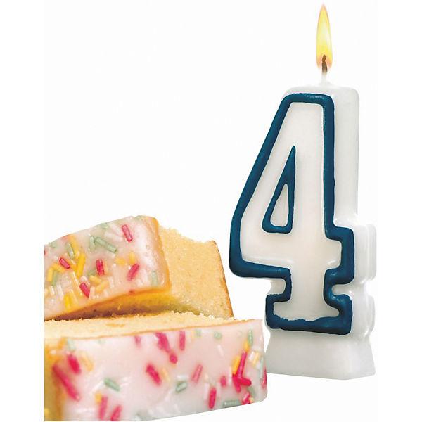 "Свеча-цифра для торта Susy Card ""4"" 8,5 см, синяя"