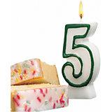"Свеча-цифра для торта Susy Card ""5"" 8,5 см, синяя"