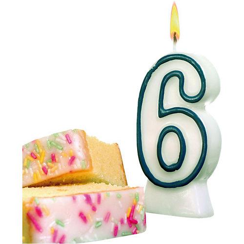 """Свеча-цифра для торта Susy Card """"6"""" 8,5 см, синяя от Susy Card"""