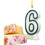 "Свеча-цифра для торта Susy Card ""6"" 8,5 см, синяя"