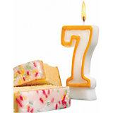 "Свеча-цифра для торта Susy Card ""7"" 8,5 см, жёлтая"