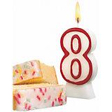 """Свеча-цифра для торта Susy Card """"8"""" 8,5 см, красная"""