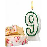 """Свеча-цифра для торта Susy Card """"9"""" 8,5 см, зелёная"""
