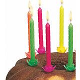 Свечи для торта Susy Card с подсвечниками 12 шт., разноцветные